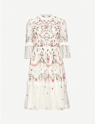 NEEDLE AND THREAD: Butterfly Meadow floral and sequin-embroidered woven mini dress