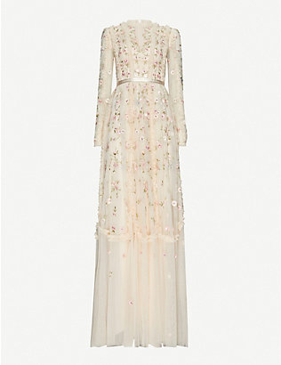 NEEDLE AND THREAD: Wallflower floral-embroidered tulle maxi dress