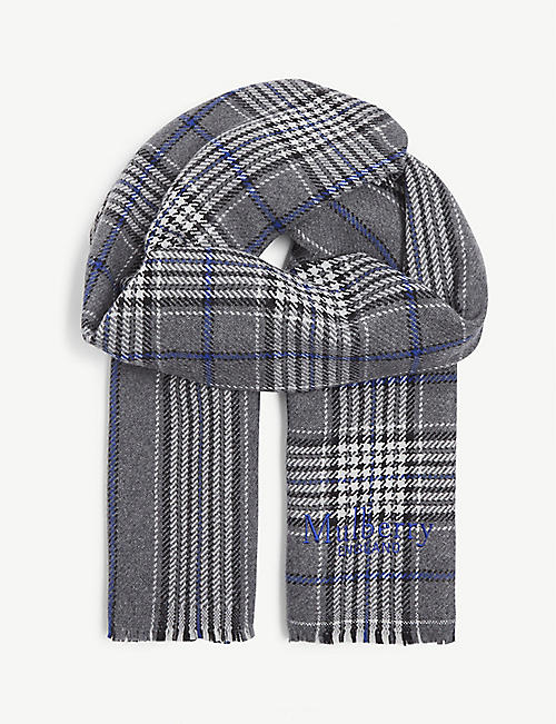 MULBERRY: Wool check scarf