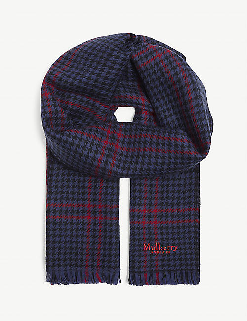 MULBERRY: Reversible dogtooth wool scarf
