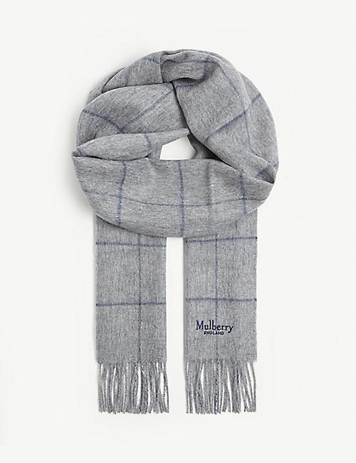 MULBERRY Windowpane lambswool scarf