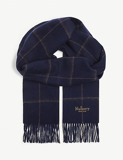 MULBERRY Windowpane wool scarf