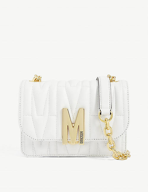 MOSCHINO M-logo leather shoulder bag