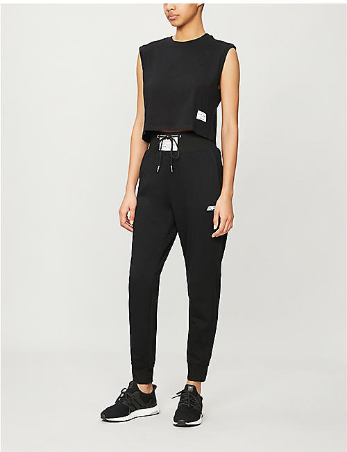 ADAM SELMAN SPORT Cropped cotton-blend jersey top
