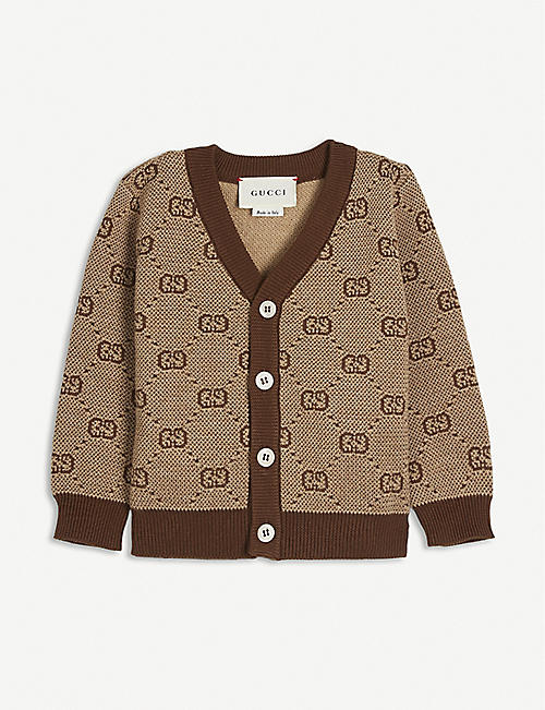 GUCCI: GG logo knitted wool-blend cardigan 6-36 months