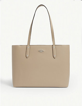 COACH: Central logo-plaque leather tote