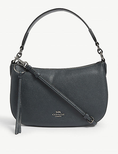 COACH: Sutton metal logo leather cross-body bag