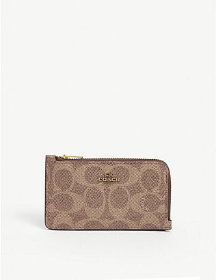 COACH: Monogram-print leather card holder