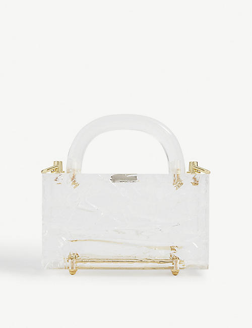 L'AFSHAR: Leon crushed-ice acrylic mini top handle bag