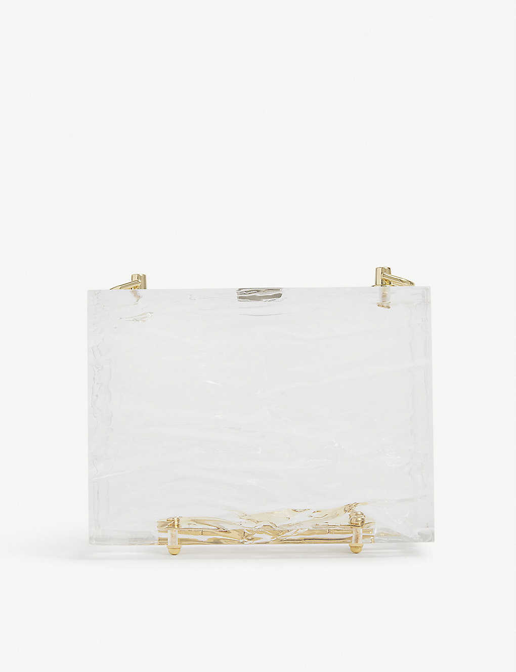 L'AFSHAR: Crushed-ice acrylic cube shoulder bag