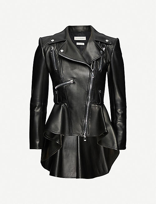 ALEXANDER MCQUEEN Flared-hem leather jacket