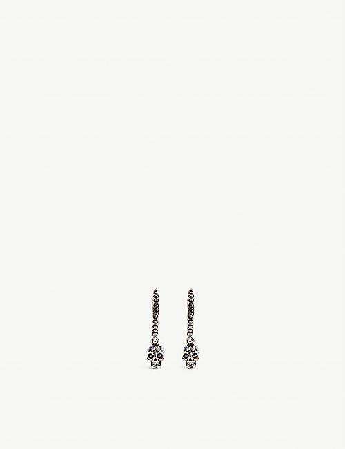ALEXANDER MCQUEEN Silver-plated crystal-embellished hoop skull earrings
