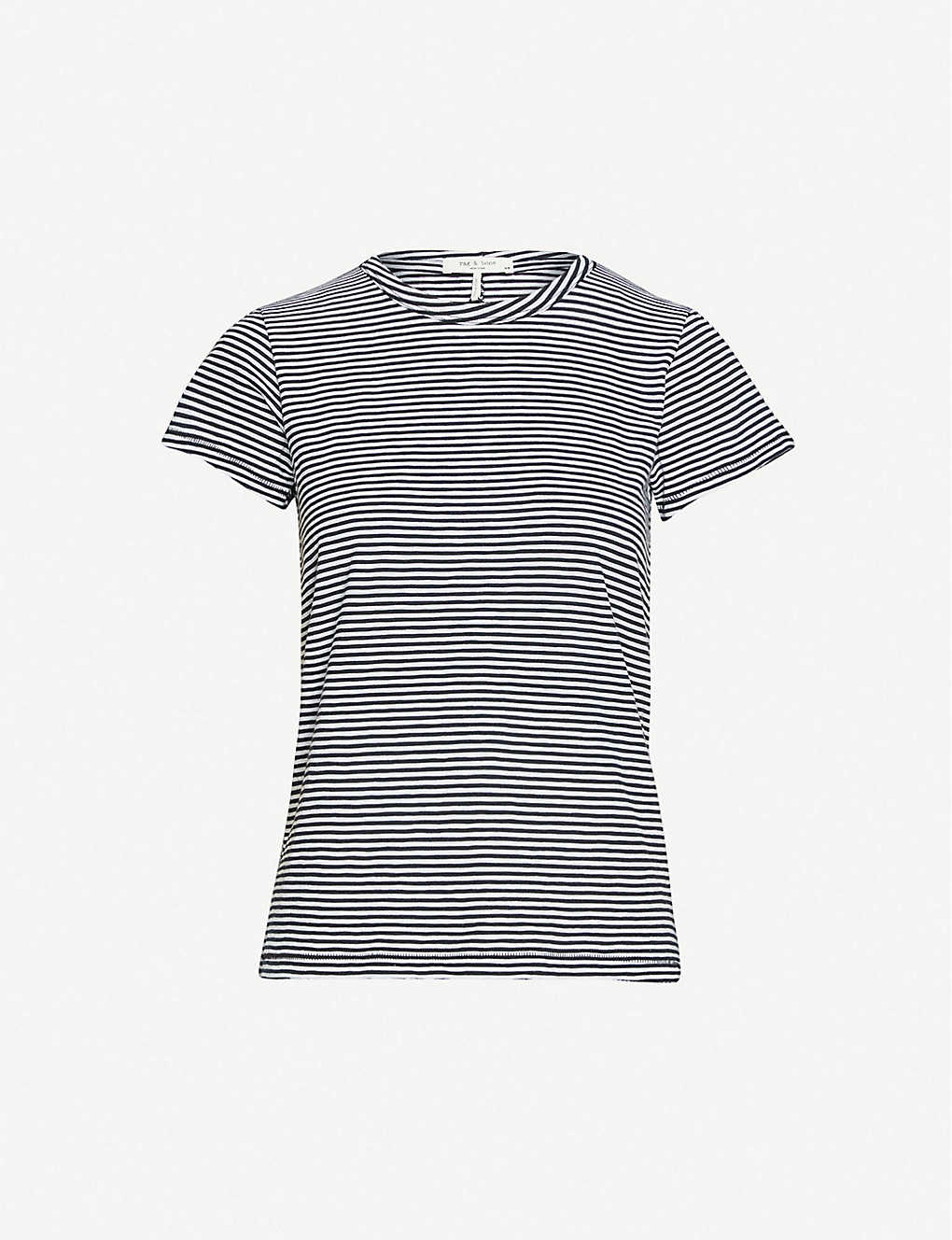 RAG & BONE: Striped cotton-jersey T-shirt