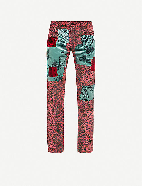 SIBERIA HILLS Straight patchwork woven trousers