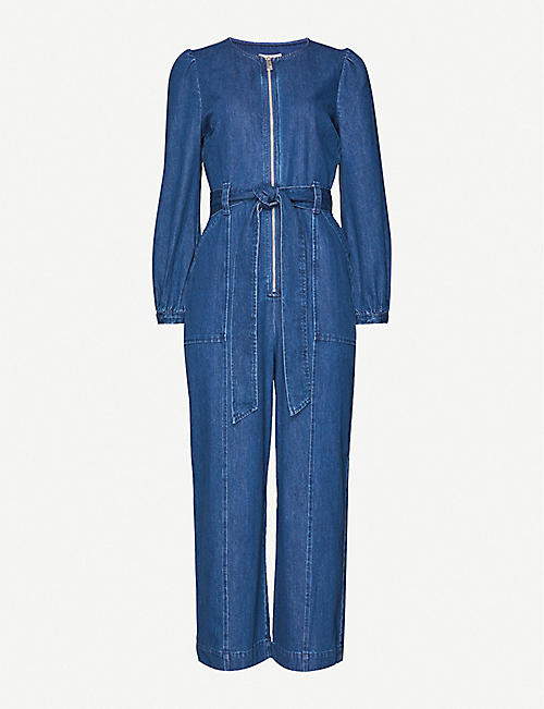 WHISTLES Estelle cropped denim jumpsuit