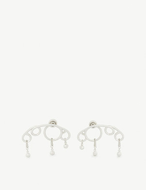 JW ANDERSON Droplet Swarovski crystal and silver-toned earrings