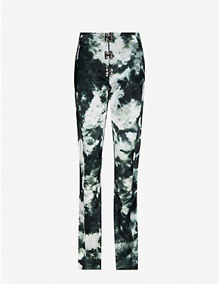 LEO: Abstract-print slim high-rise cotton-blend trousers