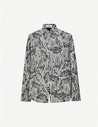 LEO: Abstract-print relaxed-fit cotton shirt