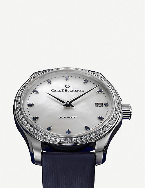 CARL F BUCHERER 00.10922.08.79.99 Manero Autodate stainless steel, diamond, sapphire and mother-of-pearl watch
