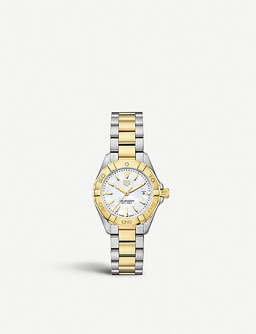 TAG HEUER: WBD1420.BB0321 Aquaracer mother-of-pearl and stainless steel quartz watch