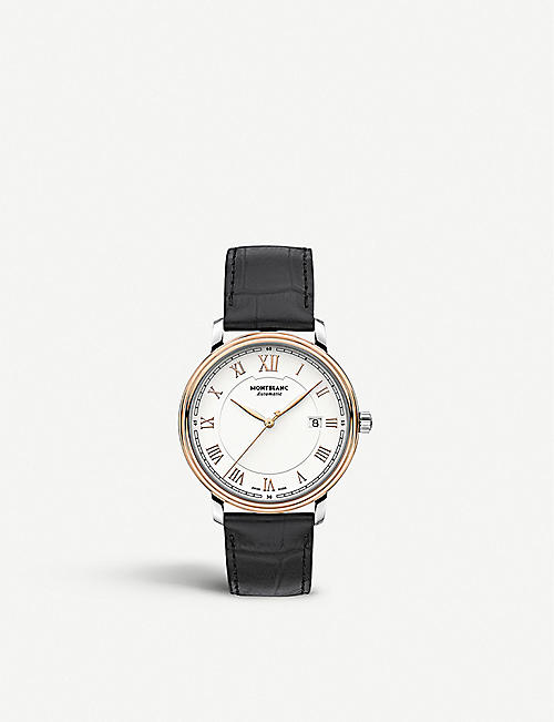 MONTBLANC: 114336 Tradition 18ct rose gold-plated stainless steel and leather automatic watch