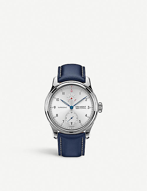 BREMONT Supersonic stainless steel and leather watch