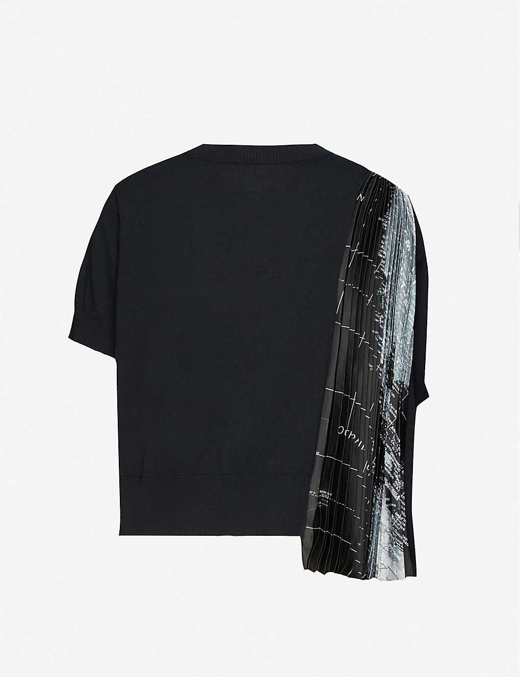 SACAI: World Map graphic-print cotton-knit and satin T-shirt