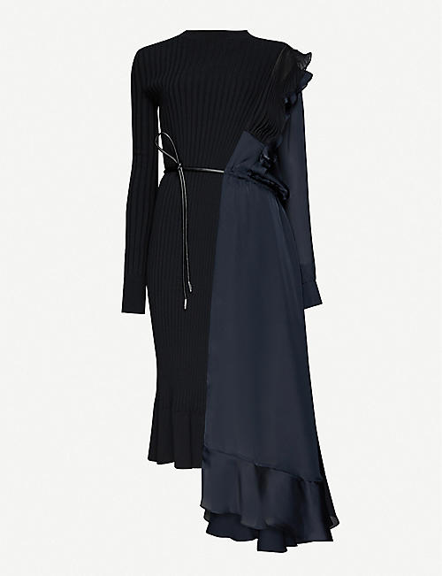 SACAI: Pleated cotton-knit and satin midi dress