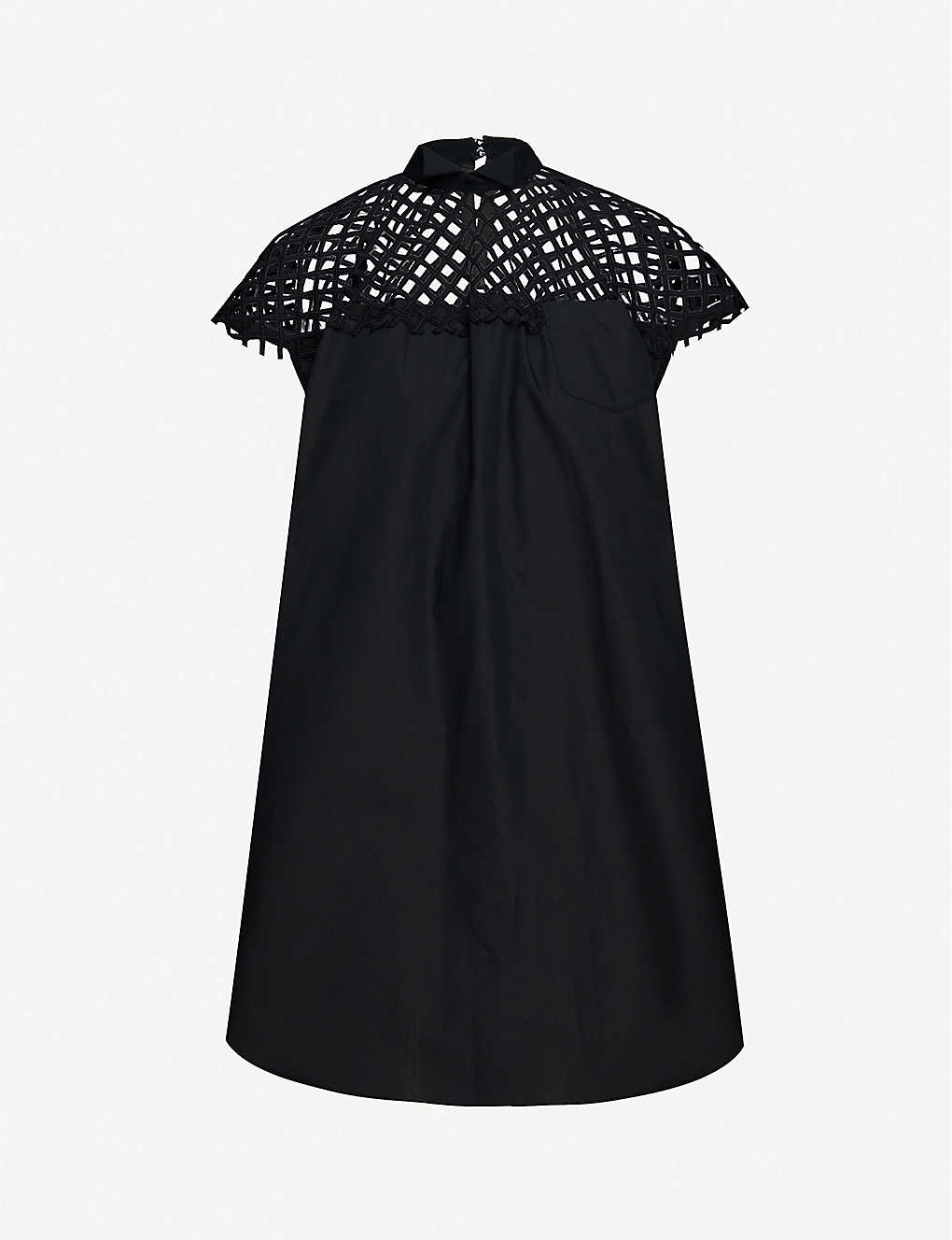 SACAI: Mesh lace woven mini dress