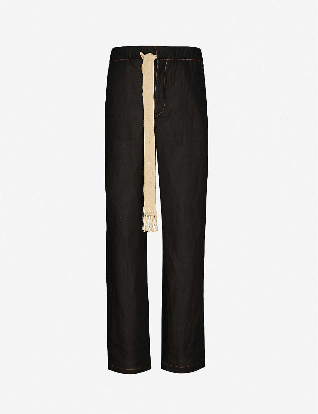 LOEWE: Drawstring mid-rise cotton and linen-blend trousers