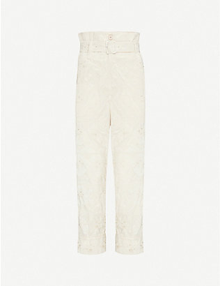SIMONE ROCHA: Embroidered tapered high-rise woven trousers