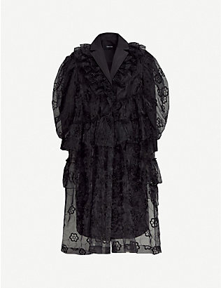 SIMONE ROCHA: Floral-embroidered frilled organza coat