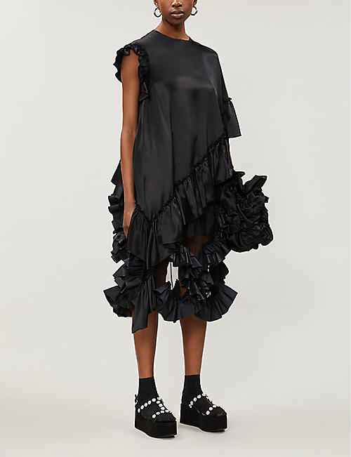 SIMONE ROCHA Asymmetric frilled-trim silk top