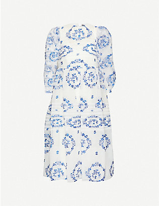 SIMONE ROCHA: Floral-embroidered tulle midi dress