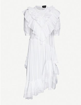 SIMONE ROCHA: Asymmetric ruffled cotton midi dress