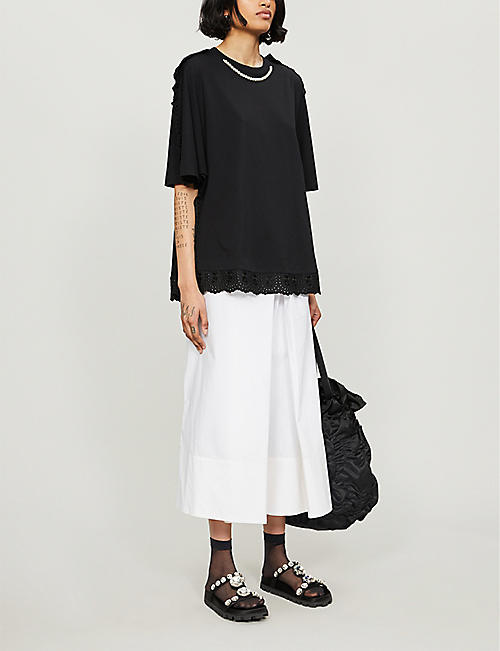 SIMONE ROCHA Ruffled embellished cotton-jersey T-shirt