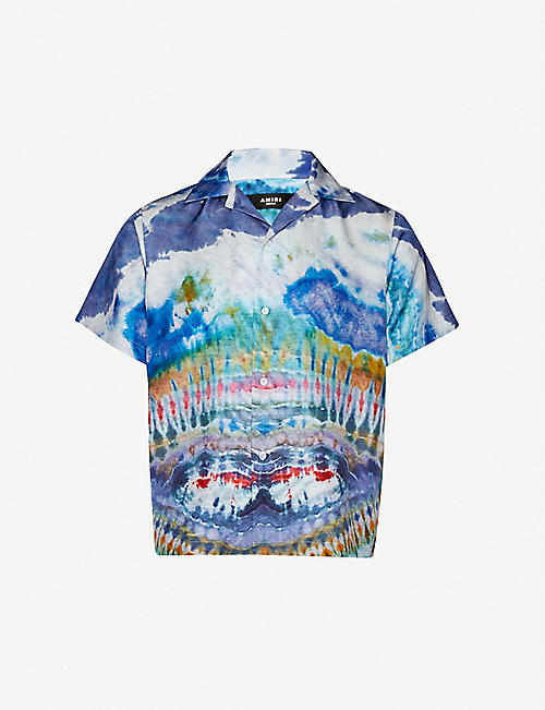 AMIRI Tie-dye silk-satin shirt