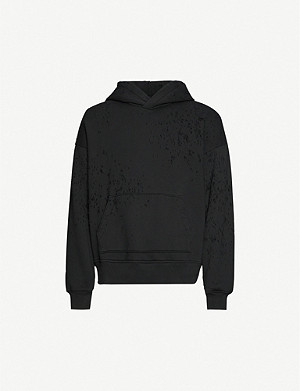AMIRI Distressed relaxed cotton-jersey hoody
