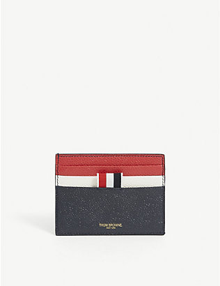 THOM BROWNE: Double sided grained leather card holder