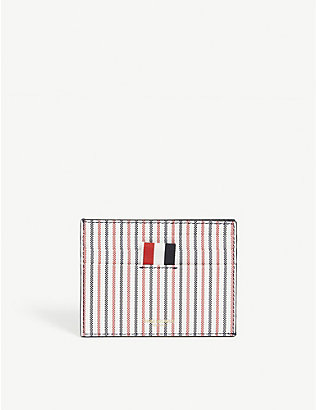 THOM BROWNE: Coated-canvas striped card holder