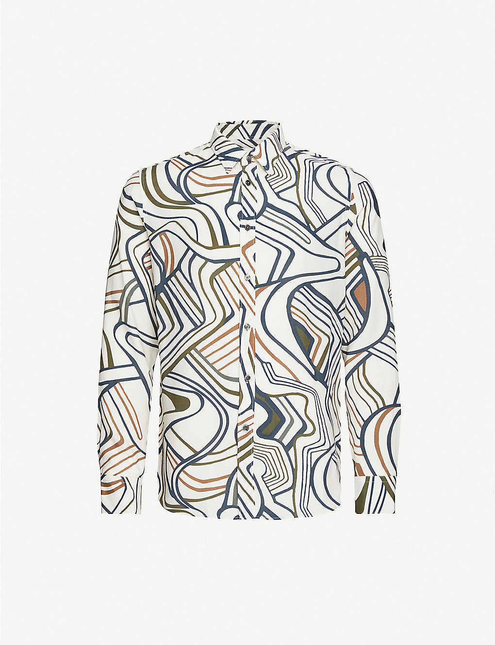 OSCAR JACOBSON: Abstract-print slim-fit woven shirt