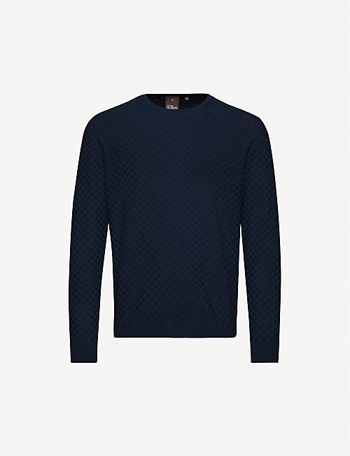 OSCAR JACOBSON Benjamin basket-weave cotton-knit jumper