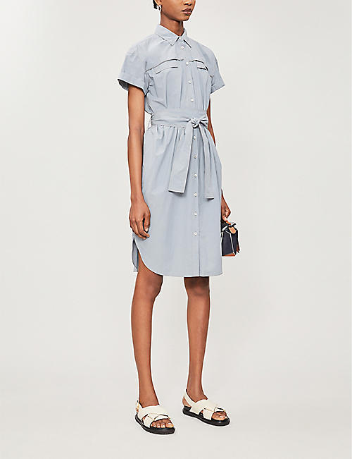 BRUNELLO CUCINELLI Embellished tie-belt cotton midi dress