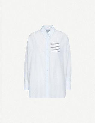 BRUNELLO CUCINELLI: Embellished oversized cotton and silk-blend shirt