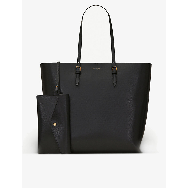 Boucle embossed-leather shopper bag with removeable envelope pouch