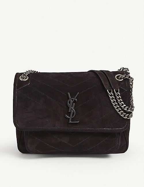 SAINT LAURENT: Niki medium suede cross-body bag