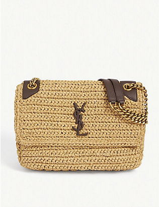 SAINT LAURENT: Niki raffia and leather medium shoulder bag
