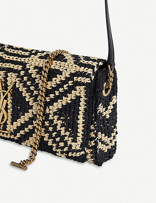 SAINT LAURENT Kate raffia baguette bag