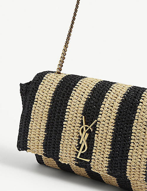 SAINT LAURENT Kate small raffia shoulder bag