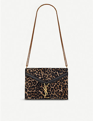 SAINT LAURENT: Cassandra medium leopard print monogram leather shoulder bag